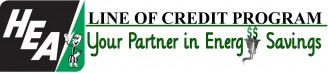 HEA Line of Credit Program logo - Your Partner in Energy Savings. Green and black.