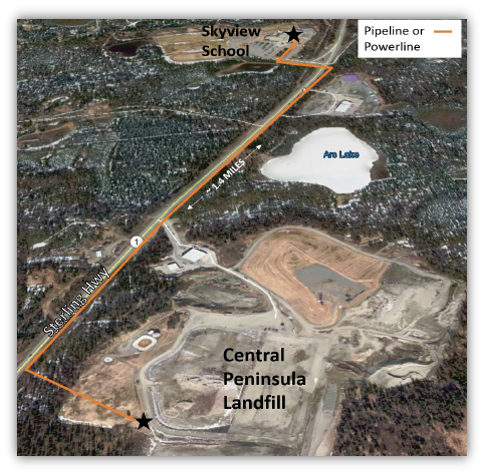 Aerial view of the Central Peninsula Landfill, Skyview School, and the pipeline or powerline