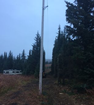 Robinson loop power pole and line in wooded area