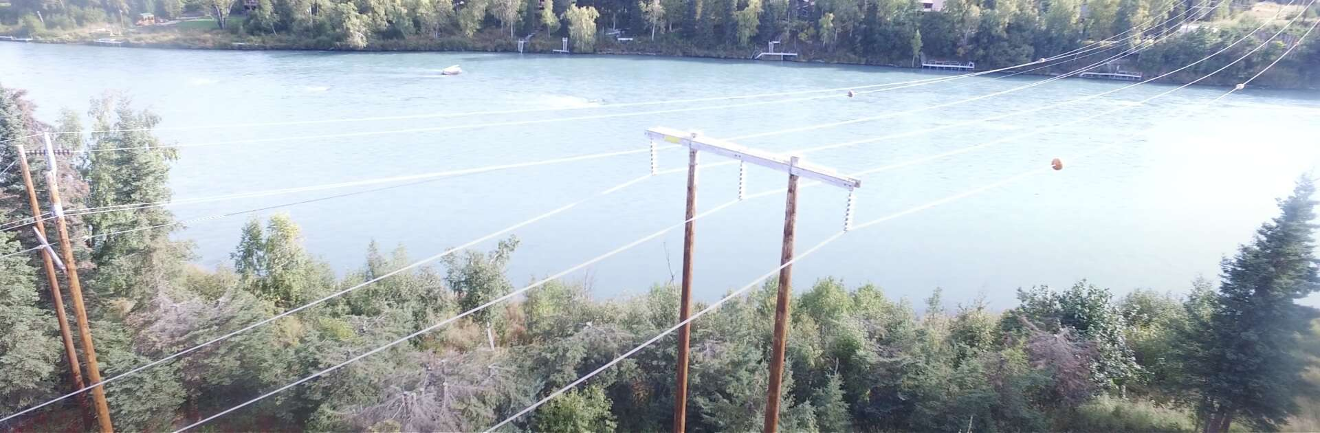 Overhead view of power lines above trees and body of water